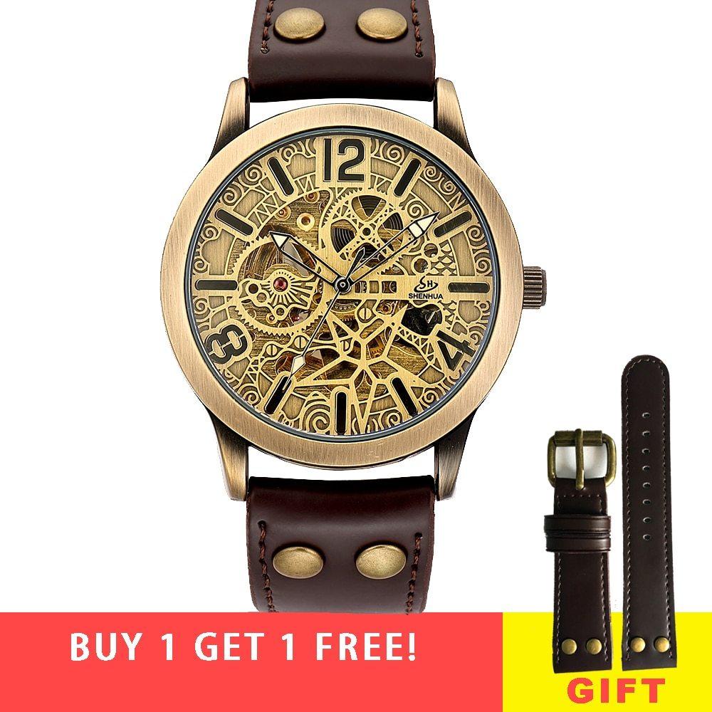 Vintage Skeleton Mechanical Automatic Wrist Watch Men 2018 Shenhua Mechanical St