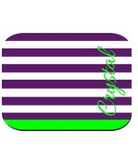 PERSONALIZED MOUSE PAD PURPLE LIME STRIPES COMPUTER PC RUBBER BACKED - $12.72