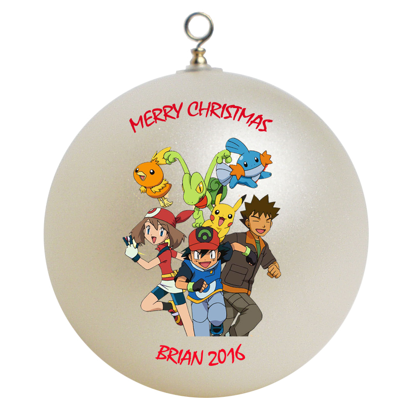 Personalized pokemon christmas ornament gift 2 ornaments for Personalized christmas photo ornaments