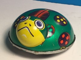JAPAN TIN TOY LADYBUG 1950 to 1960 GREEN BUG INSECT PULL BACK DRIVE WIND... - $19.75