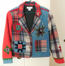 Unique SANDY STARKMAN Wool Jacket Sz S Wearable Art Embellished Boho Rare - $39.59