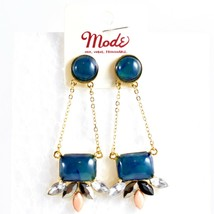 """Mode Blue Shourouk Style Look Lucite 2.75"""" Drop Dangle Post Earrings New w Tag image 1"""