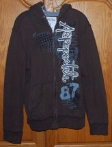 Aeropostale 87 Mens Large Hoodie Jacket w/ Pockets Brown Zip Front Logo L - $39.55