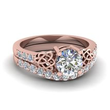 Round Cut Cubic Zirconia Engagement & Wedding Ring Set 14k Rose Gold Plated - $129.99