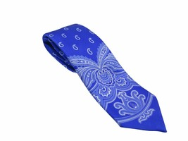 Brioni Italy Men's Royal Blue Paisley 100% Silk Skinny Neck Tie - $154.28