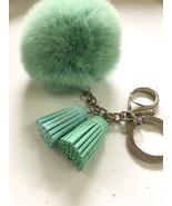 Fur pom pom keychain candy green REX Rabbit bag charm ball with two gradient col - $15.99