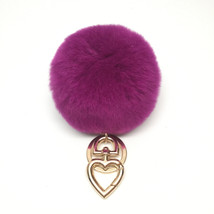 Heart Fur Pompom Keychain Rabbit Fur Ball Bag C... - $18.99