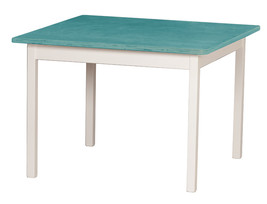Children's Play Table   Turquoise & White Amish Handmade Wood Toy Furniture Usa - $156.39
