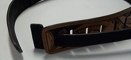 """45"""" DARK SHADED IRONWOOD  GUITAR STRAP MADE BY BLUEHORN CUSTOM LEATHER - $90.00"""