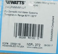 Watts Thermostatic Mixing Valve Threaded 3/4 Inch LFMMVM1 UT image 4