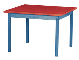 Children's Play Table   Blue & Red Amish Handmade Wood Toy Furniture Usa Made - $156.39
