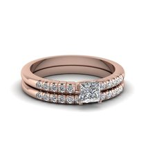 Princess Cut Cubic Zirconia Exclusive Wedding Ring Set 14k Rose Gold Finish - $99.99