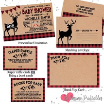 Lumberjack Deer Flannel Rustic Baby Shower Invitation Set personalized t... - £12.81 GBP