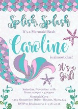 Mermaid Baby Shower Invitation Teal pink lavender glitter personalized c... - £9.30 GBP