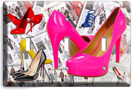 Hot Pink High Heel Sexy Shoes Triple Light Switch Wall Plate Boutique Room Decor - $16.19