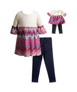 Dollie Me Girl 4-14 and Doll Matching Chevron Dress Legging Outfit Ameri... - $32.99