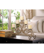 *15541B  Antiqued Cast Iron Candleabra Stand 5 Pillar Candle Holder - $37.15