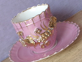 Antique 1800's England pink gold porcelain china demi demitasse tea cup teacup - $48.51