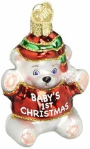 Baby's 1st Christmas Ornament Teddy Bear First Old World Glitter Accents... - $11.87