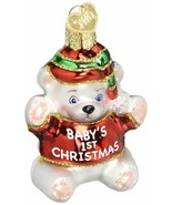 Baby's 1st Christmas Ornament Teddy Bear First Old World Glitter Accents New  - $11.87