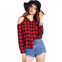 Checkered Print Loose Open Shoulder Women Blouse Tops - $19.36