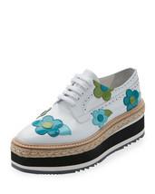 Prada Microsole Floral Platform Espadrille Sneaker, Bianco  $1,250.00 Sz... - £524.86 GBP