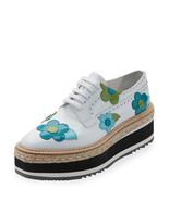 Prada Microsole Floral Platform Espadrille Sneaker, Bianco  $1,250.00 Sz... - $742.50