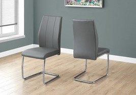 2 Piece Dining Chair Set Metal Side Living Room Leather Look Chrome Gray... - €208,05 EUR