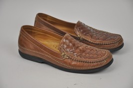 Men's JOHNSTON & MURPHY Brown Leather Loafers 12 Tidwell 8543 Sheepskin ... - $38.61