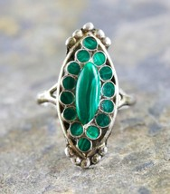 Gorgeous Sterling Silver Malachite Gemstone Cocktail Ring Size:6.25 - $34.45