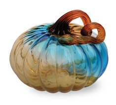 Gallery Glass Pumpkins Small Glass Pumpkin - Blue by Boston International - $44.50
