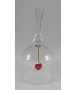 Intaglio Etched Crystal Glass Bell I Love You with Red Heart Clapper - $9.99