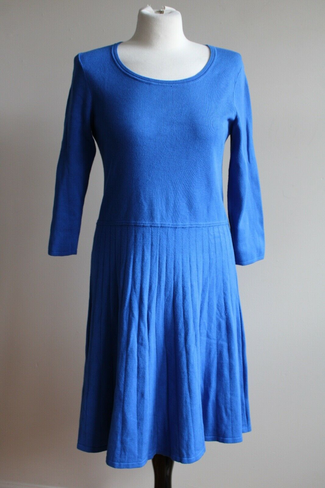Primary image for Talbots MP Blue Pleated Skirt Knit Sweater Dress