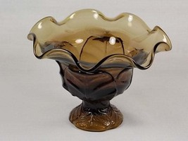 Viking Epic Leaf Ruffled Top Brown Glass Compote #7602 aka Cabbage Leaf, Candy B - $54.00
