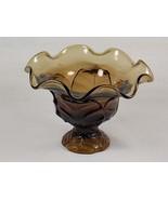 Viking Epic Leaf Ruffled Top Brown Glass Compote #7602 aka Cabbage Leaf,... - $54.00