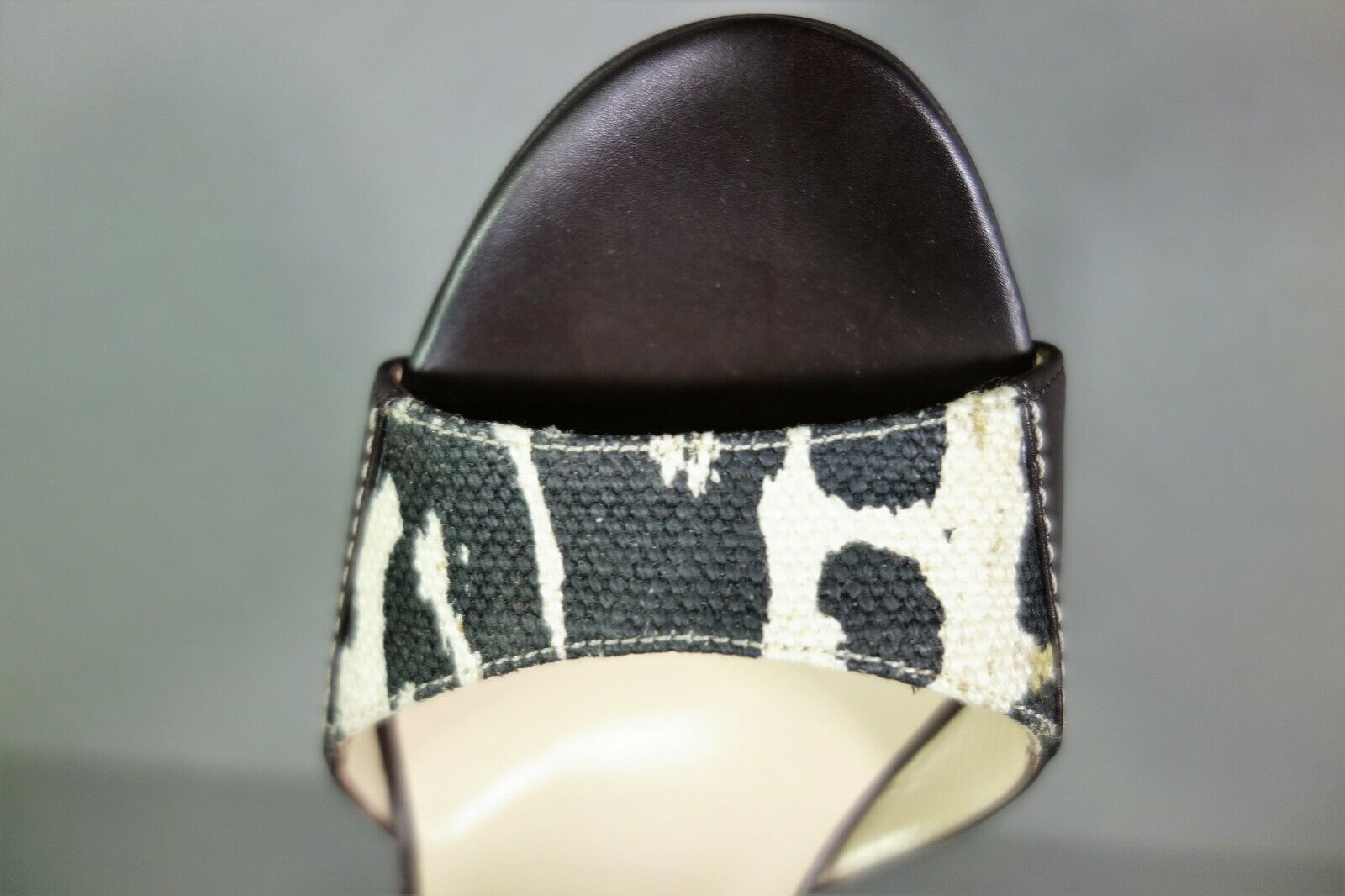 Jimmy Choo 36 Pioneer Leopard Print Canvas Dark Brown Leather Sandals Shoes NEW image 9
