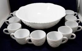 Vintage Milk Glass Large Punch Bowl Set with 10 cups Ornate Design 1950s  - $75.23