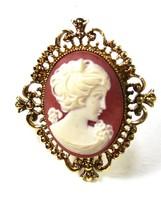 Arte Dorado Vintage Mujer Camafeo Medallón Colgante de Avon 73115 - $58.98