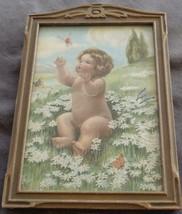 Vintage Artwork Print In Antique Wooden Frame - VGC - CUTE VINTAGE PRINT... - $49.49