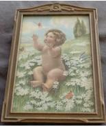 Vintage Artwork Print In Antique Wooden Frame - VGC - CUTE VINTAGE PRINT & FRAME - $49.49