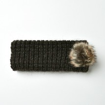 Black with Brown Pom Pom Knitted Headband for Fall & Winter - $13.09