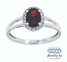 Garnet Birthstone 14K White Gold 0.96CT Real Natural Halo Diamond Ring J... - $796.95
