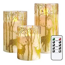 GenSwin Glass Flameless Candles with Elk Decor and Remote Timers, Batter... - $19.44