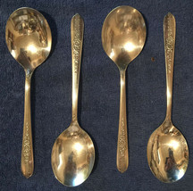 ROYAL ROSE SILVERPLATE NOBILITY 1939 * 4 BOUILLON SOUP PLACE SPOONS /S *... - $11.41