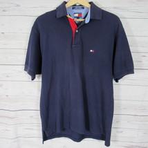 Tommy Hilfiger Polo Golf Shirt Mens Small S Navy Box Flag Logo Vintage 90s - $20.86