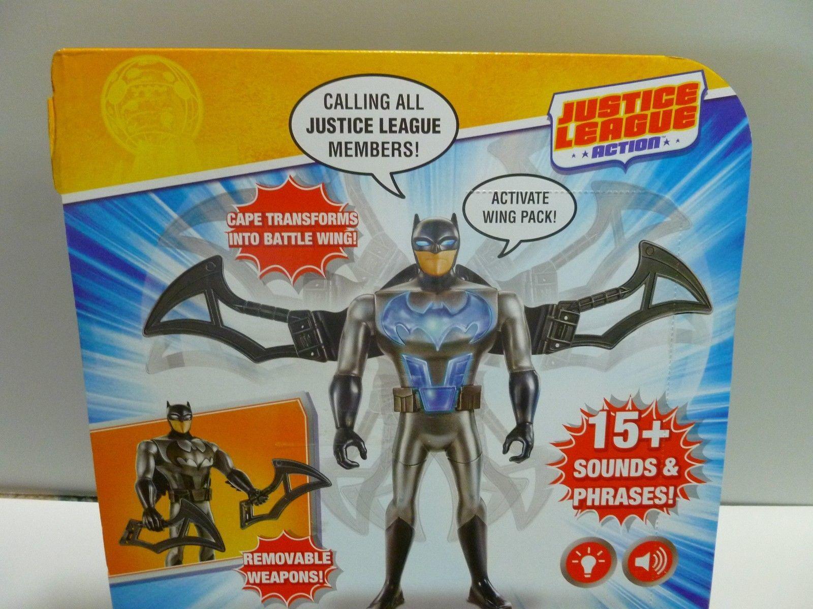 """Batman Battle Wing Talking Action Figure, 12"""" Justice League Lights Sound NWT M3"""
