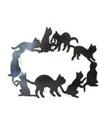 Vintage Oval Cat Wreath Sign Wall Plaque Black Metal Chadwick Miller 1986 - $14.50