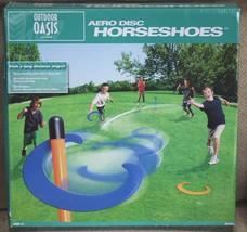 Outdoor Oasis Aero Disc Horseshoe Horseshoes Stakes Set Backyard Game - $29.68