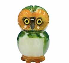 Owl figurine genuine Alabaster Ducceschi Italy hand painted stone bird v... - $29.65