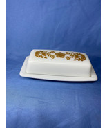 Vintage Pyrex Corelle Butterfly Gold Milk Glass Covered Butter Dish 72-B - $19.99
